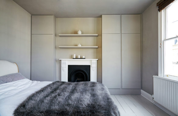 House of Sylphina interior design, Stoke Newington. Minimalist grey bedroom.