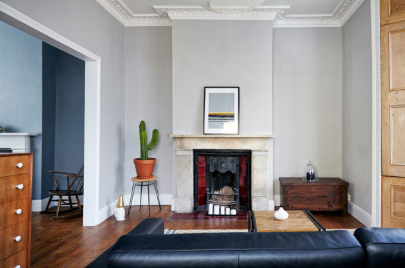 House of Sylphina interior design, Stoke Newington. Grey living room with ornate fireplace