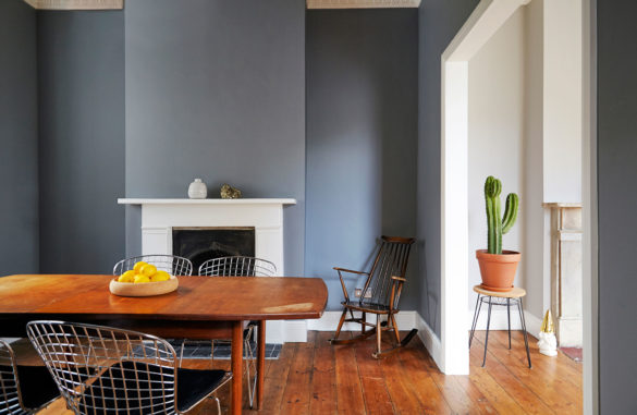 House of Sylphina interior design, Stoke Newington. Contemporary dining room with real fireplace.