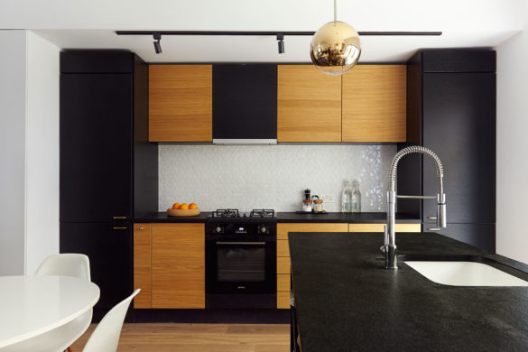ouse of Sylphina interior design, Dalston. Monochrome kitchen with wood detailing