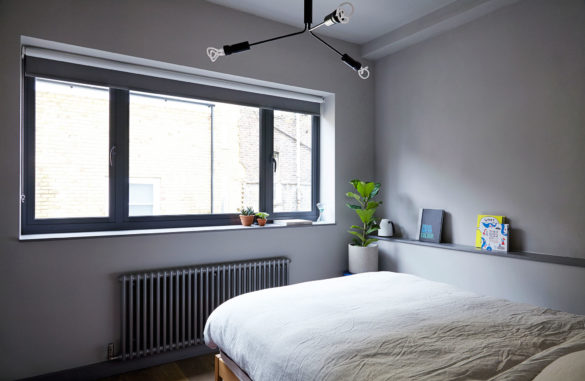 House of Sylphina interior design, Dalston. Contemporary grey bedroom