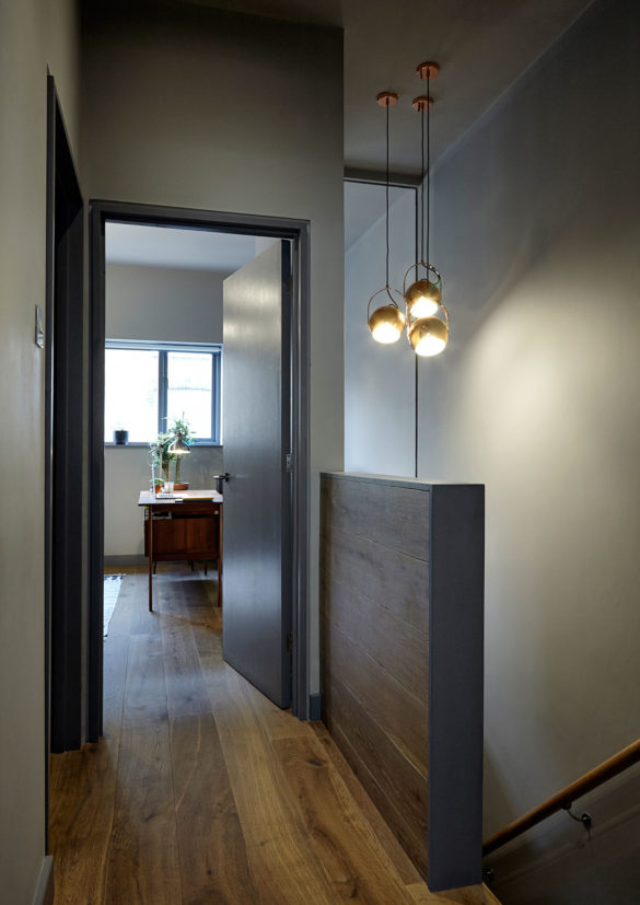 House of Sylphina interior design, Dalston. Statement lighting in hallway