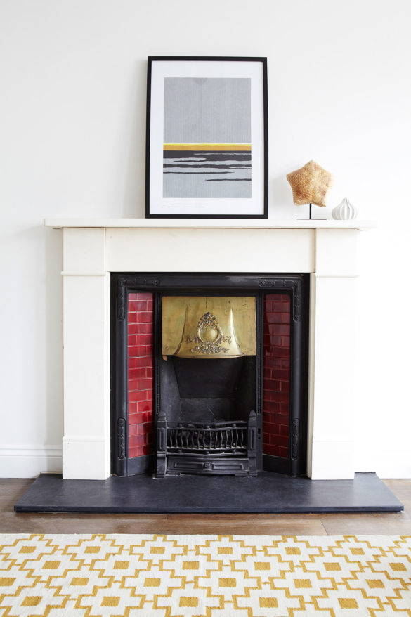 House of Sylphina, minimalist interior design, London. Feature fireplace.