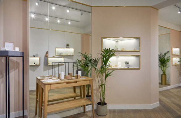 House of Sylphina commercial interior design for Astrid and Miyu flagship, London. Millennial pink fashion showroom.