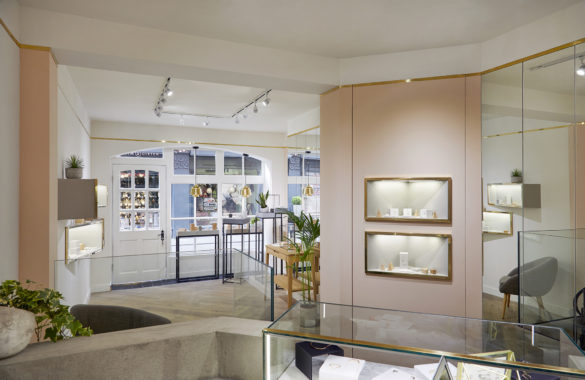 House of Sylphina commercial interior design for Astrid and Miyu flagship, London. Modern millennial pink fashion house.