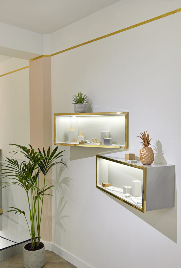 House of Sylphina commercial interior design for Astrid and Miyu flagship, London. Quirky shelving ideas.