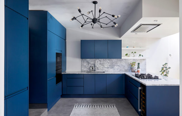 House of Sylphina. Interior designer, North London. Blue kitchen.