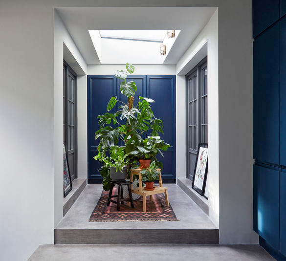 House of Sylphina. Interior designer, North London. Blue and white entryway with plants.