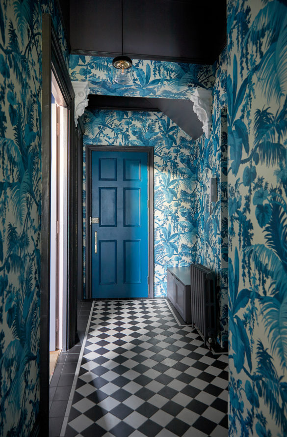House of Sylphina. Interior designer, North London. Blue corridor interiors.