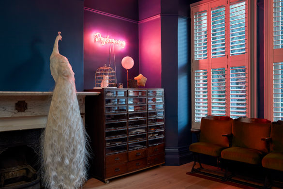 House of Sylphina. Interior designer, North London. Blue living room with pink neon lighting.