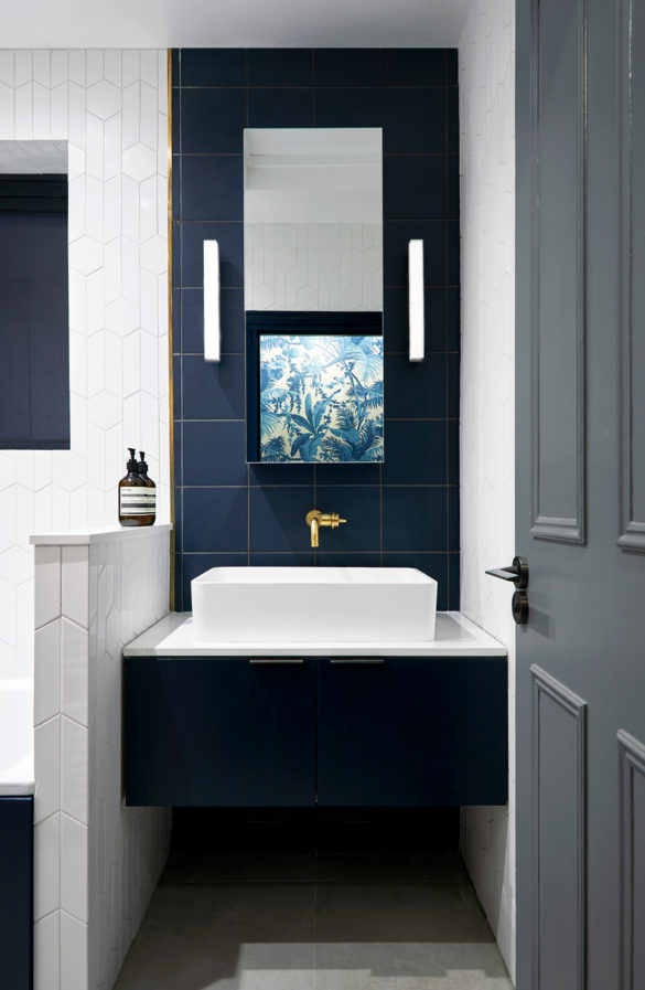 House of Sylphina. Interior designer, North London. Blue tiled bathroom with white detail.